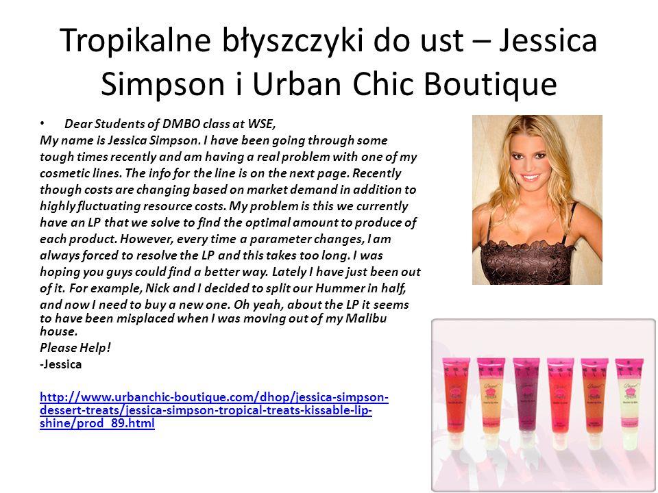Dane do problemu Jessica sprzedaje 4 rodzaje błyszczyka do ust.
