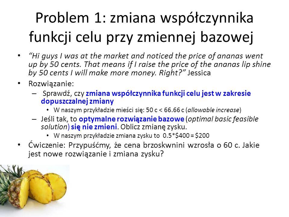 Microsoft Excel 14.1 Sensitivity Report Worksheet: [Workbook2]Sheet1 Report Created: 10/31/2011 3:35:03 PM Variable Cells FinalReducedObjectiveAllowable CellNameValueCostCoefficientIncreaseDecrease $B$6Zmienne decyzyjne Brzoskwinia0411E+30 $C$6Zmienne decyzyjne Ananas400060.6666666670.5 $D$6Zmienne decyzyjne Pomarańcza1500710.5 $E$6Zmienne decyzyjne Mango4000821E+30 Constraints FinalShadowConstraintAllowable CellNameValuePriceR.H.