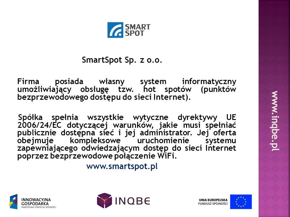 SmartSpot Sp. z o.o. Firma posiada własny system informatyczny umożliwiający obsługę tzw. hot spotów (punktów bezprzewodowego dostępu do sieci Interne