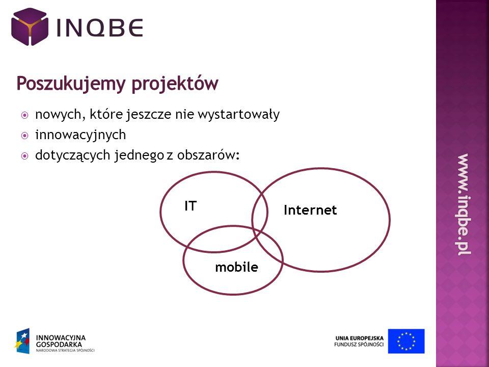 nowych, które jeszcze nie wystartowały innowacyjnych dotyczących jednego z obszarów: IT Internet mobile