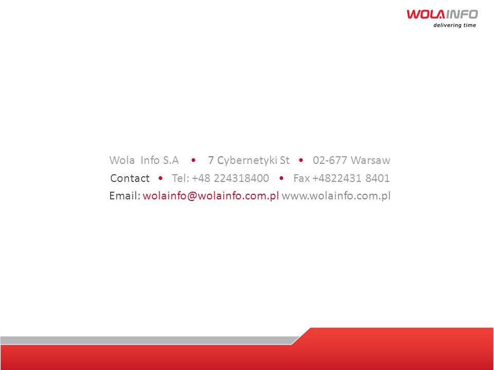 Wola Info S.A. 7 Cybernetyki St 02-677 Warsaw Contact Tel: +48 224318400 Fax +4822431 8401 Email: wolainfo@wolainfo.com.pl www.wolainfo.com.pl