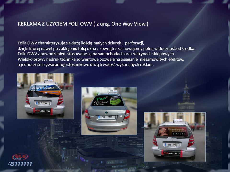 NAKLEJKI REKLAMOWE Reklama charakteryzująca się użyciem - jako nośnika – tylnego zderzaka taksówki ELE TAXI.