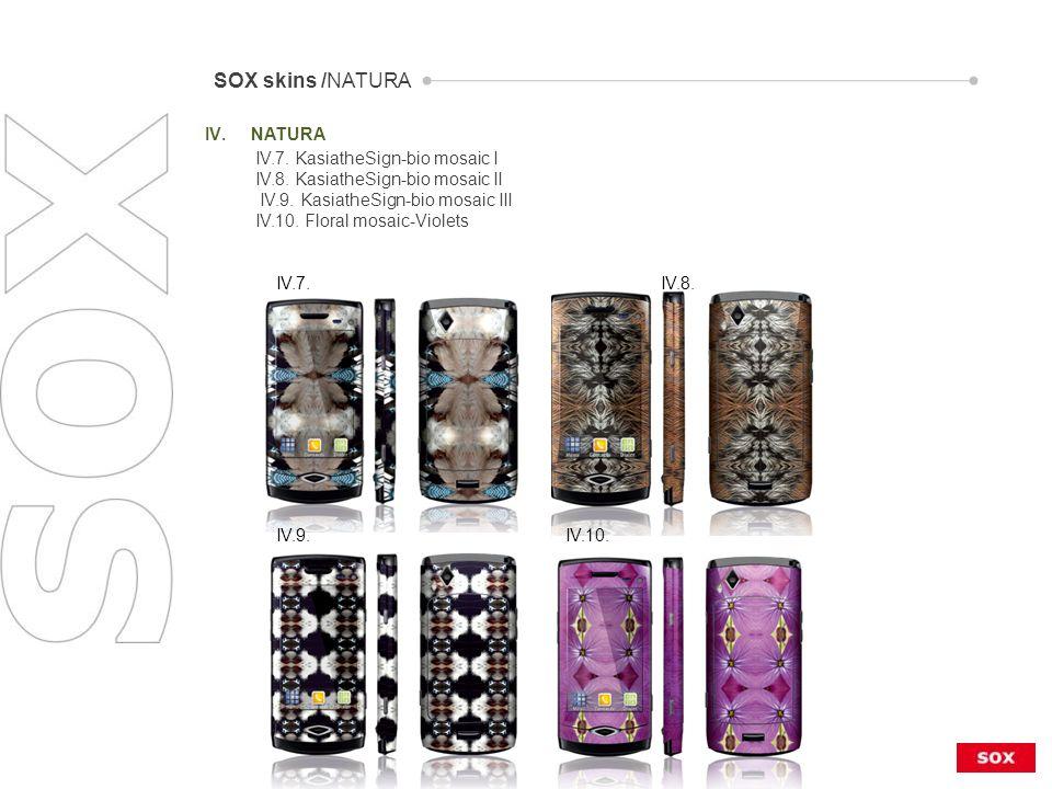IV.NATURA SOX skins /NATURA IV.7. IV.8. IV.9. IV.10.