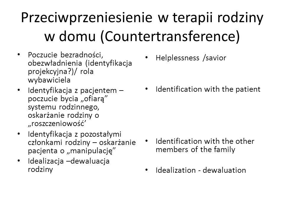 Przeciwprzeniesienie w terapii rodziny w domu (Countertransference) Poczucie bezradności, obezwładnienia (identyfikacja projekcyjna?)/ rola wybawiciel