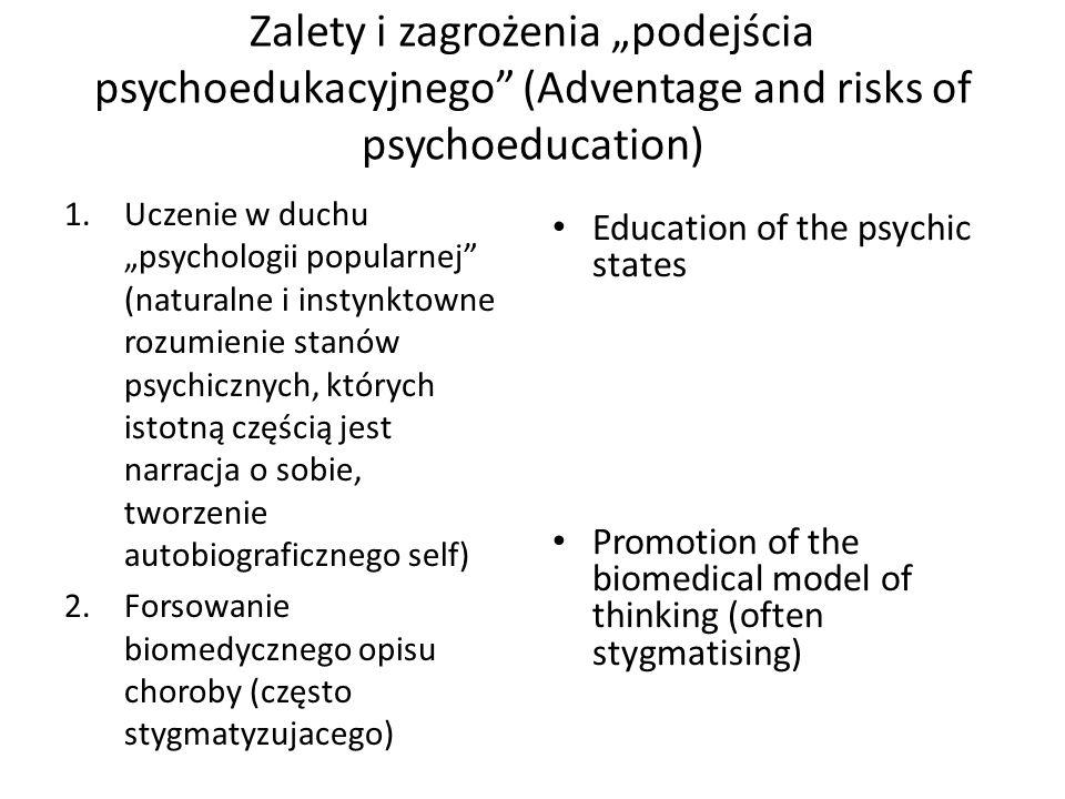 Zalety i zagrożenia podejścia psychoedukacyjnego (Adventage and risks of psychoeducation) 1.Uczenie w duchu psychologii popularnej (naturalne i instyn
