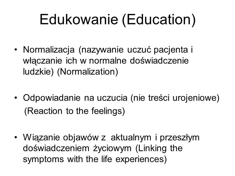 Edukowanie (Education) Normalizacja (nazywanie uczuć pacjenta i włączanie ich w normalne doświadczenie ludzkie) (Normalization) Odpowiadanie na uczuci
