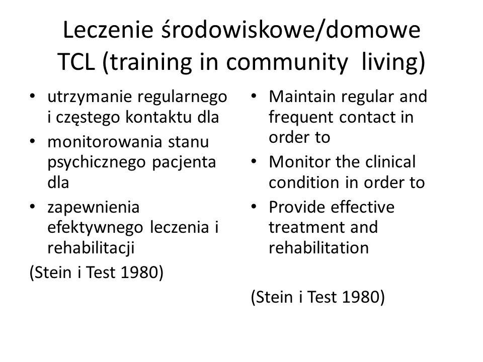 Leczenie środowiskowe/domowe TCL (training in community living) utrzymanie regularnego i częstego kontaktu dla monitorowania stanu psychicznego pacjen