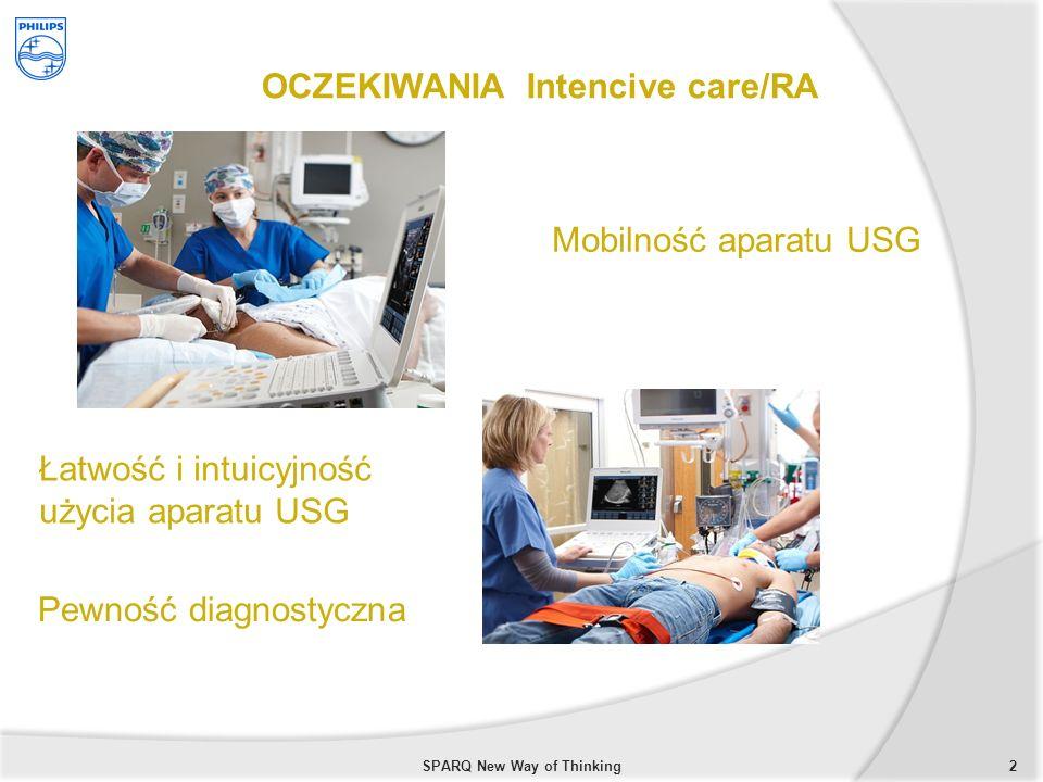 2 OCZEKIWANIA Intencive care/RA Mobilność aparatu USG Łatwość i intuicyjność użycia aparatu USG Pewność diagnostyczna