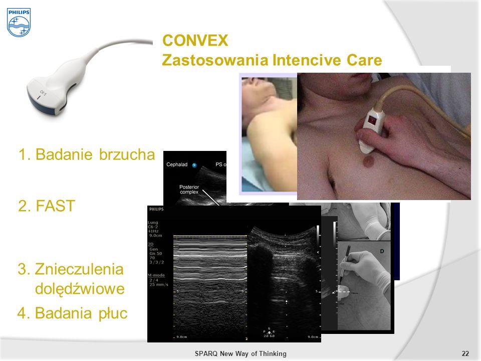 22SPARQ New Way of Thinking CONVEX Zastosowania Intencive Care 1. Badanie brzucha 2. FAST 3. Znieczulenia dolędźwiowe 4. Badania płuc