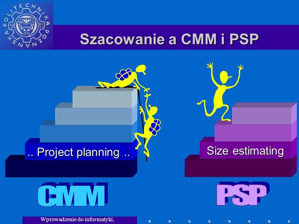 Wprowadzenie do informatyki, Wykład 3 Szacowanie a CMM i PSP.. Project planning.. Size estimating