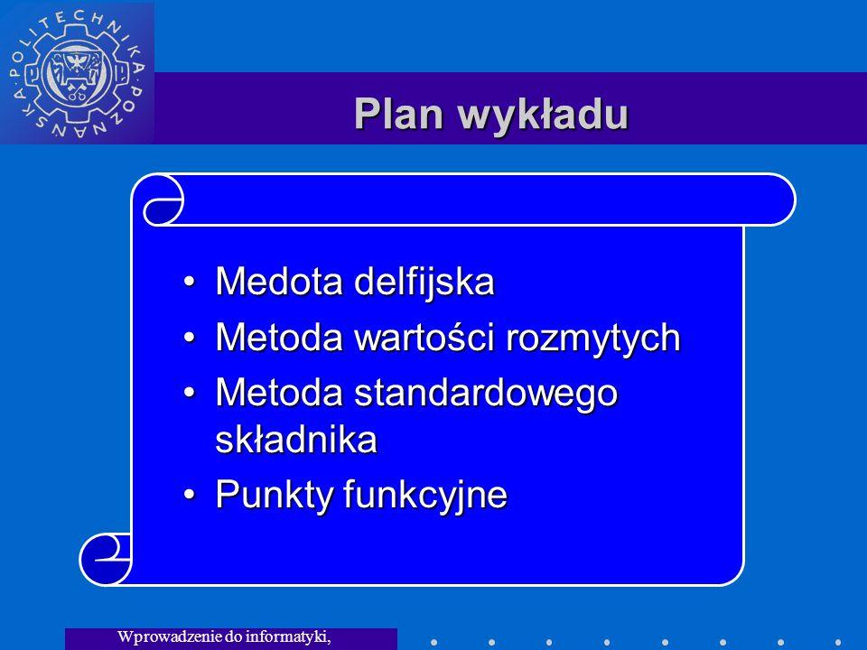 Wprowadzenie do informatyki, Wykład 3 Plan wykładu Medota delfijskaMedota delfijska Metoda wartości rozmytychMetoda wartości rozmytych Metoda standardowego składnikaMetoda standardowego składnika Punkty funkcyjnePunkty funkcyjne