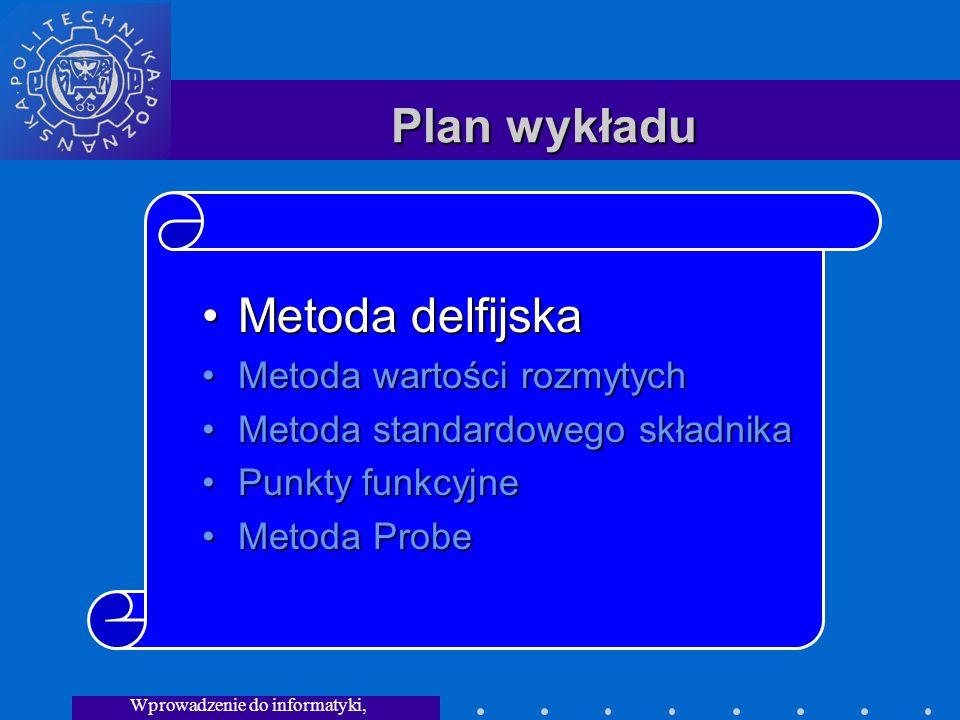 Wprowadzenie do informatyki, Wykład 3 Plan wykładu Metoda delfijskaMetoda delfijska Metoda wartości rozmytychMetoda wartości rozmytych Metoda standardowego składnikaMetoda standardowego składnika Punkty funkcyjnePunkty funkcyjne Metoda ProbeMetoda Probe