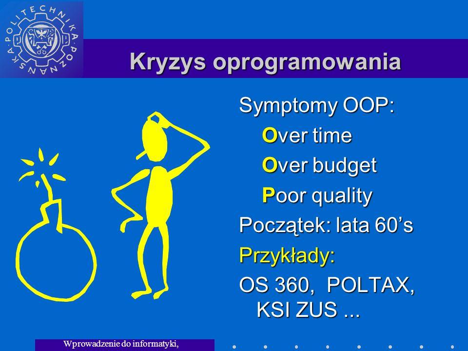 Wprowadzenie do informatyki, Wykład 3 Kryzys oprogramowania Symptomy OOP: Over time Over budget Poor quality Początek: lata 60s Przykłady: OS 360, POLTAX, KSI ZUS...