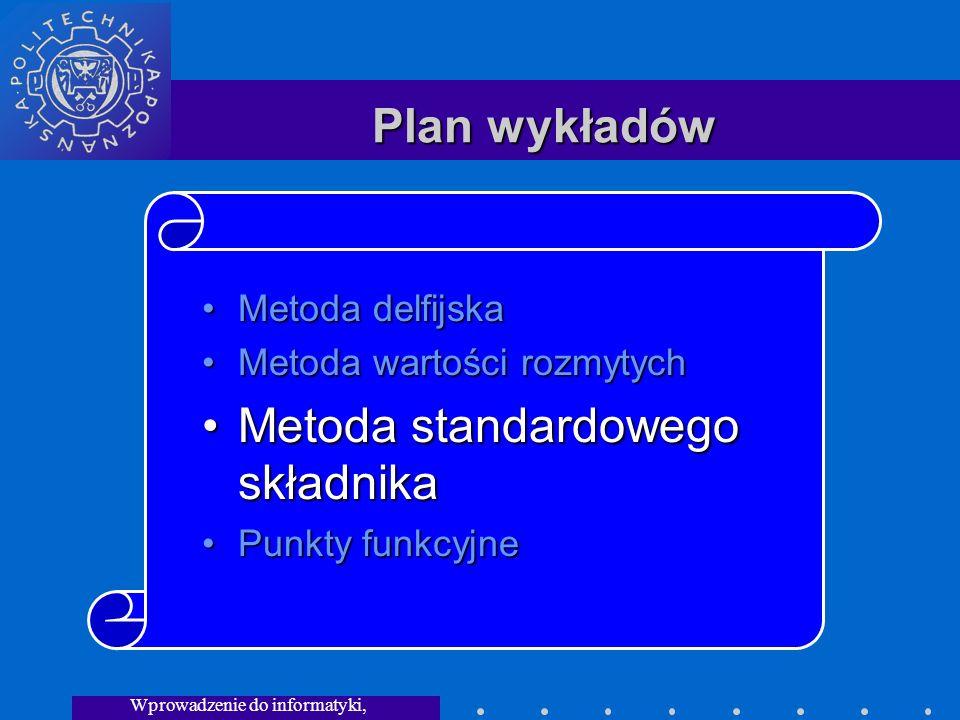 Wprowadzenie do informatyki, Wykład 3 Plan wykładów Metoda delfijskaMetoda delfijska Metoda wartości rozmytychMetoda wartości rozmytych Metoda standardowego składnikaMetoda standardowego składnika Punkty funkcyjnePunkty funkcyjne