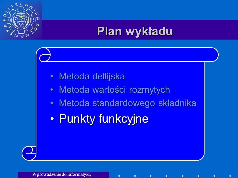 Wprowadzenie do informatyki, Wykład 3 Plan wykładu Metoda delfijskaMetoda delfijska Metoda wartości rozmytychMetoda wartości rozmytych Metoda standardowego składnikaMetoda standardowego składnika Punkty funkcyjnePunkty funkcyjne