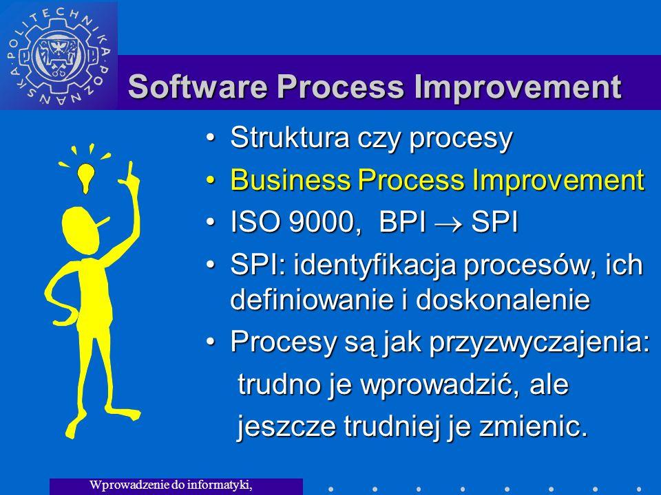 Wprowadzenie do informatyki, Wykład 3 Software Process Improvement Struktura czy procesy Business Process Improvement ISO 9000, BPI SPI SPI: identyfikacja procesów, ich definiowanie i doskonalenie Procesy są jak przyzwyczajenia: trudno je wprowadzić, ale jeszcze trudniej je zmienic.