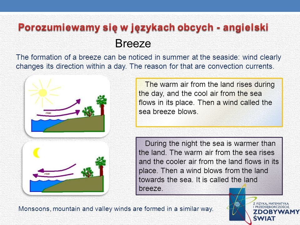 Breeze The formation of a breeze can be noticed in summer at the seaside: wind clearly changes its direction within a day. The reason for that are con