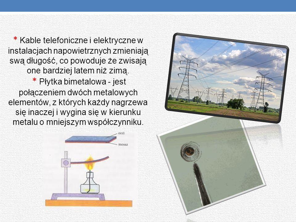 * Kable telefoniczne i elektryczne w instalacjach napowietrznych zmieniają swą długość, co powoduje że zwisają one bardziej latem niż zimą. * Płytka b