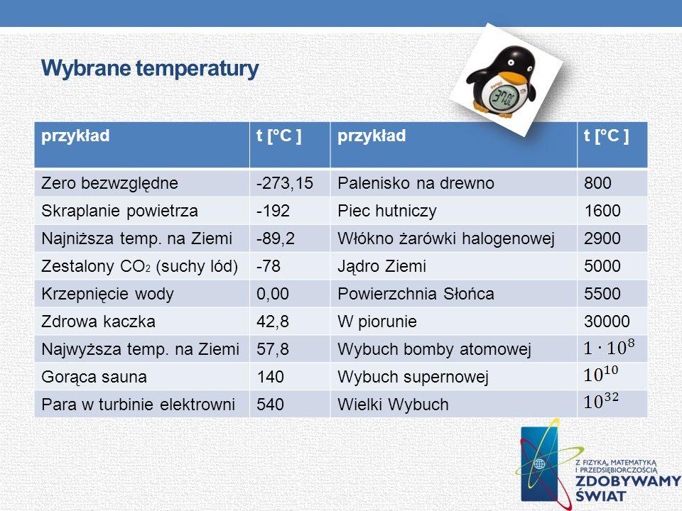Wybrane temperatury przykładt [°C ]przykładt [°C ] Zero bezwzględne-273,15Palenisko na drewno800 Skraplanie powietrza-192Piec hutniczy1600 Najniższa t