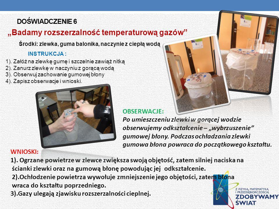 DOŚWIADCZENIE 6 Badamy rozszerzalność temperaturową gazów Środki: zlewka, guma balonika, naczynie z ciepłą wodą INSTRUKCJA : 1). Załóż na zlewkę gumę