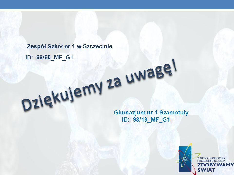 Dziękujemy za uwagę! Zespół Szkół nr 1 w Szczecinie ID: 98/60_MF_G1 Gimnazjum nr 1 Szamotuły ID: 98/19_MF_G1