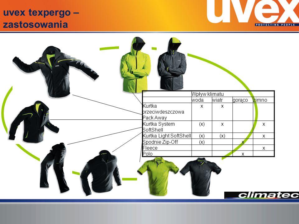 Kurtka uvex texpergo System SoftShell Wysokofunkcjonalna kurtka SoftShell do niemal wszystkich warunków klimatycznych.