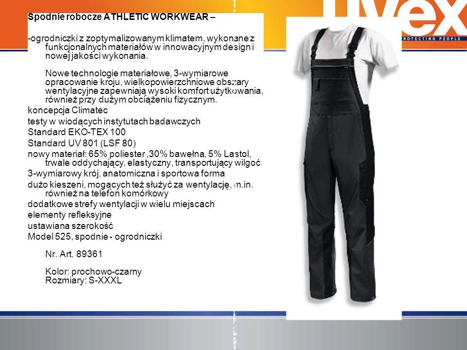 Spodnie robocze ATHLETIC WORKWEAR – -ogrodniczki z zoptymalizowanym klimatem, wykonane z funkcjonalnych materiałów w innowacyjnym design i nowej jakoś