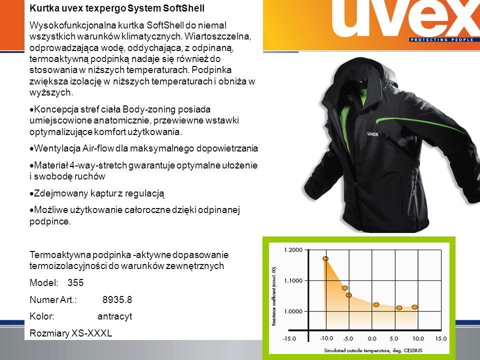 Kurtka uvex texpergo System SoftShell Wysokofunkcjonalna kurtka SoftShell do niemal wszystkich warunków klimatycznych. Wiartoszczelna, odprowadzająca
