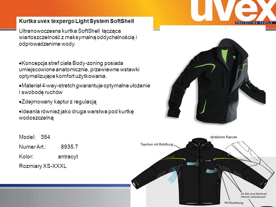 Kurtka uvex texpergo Light System SoftShell Ultranowoczesna kurtka SoftShell łącząca wiartoszczelność z maksymalną oddychalnością i odprowadzenime wod