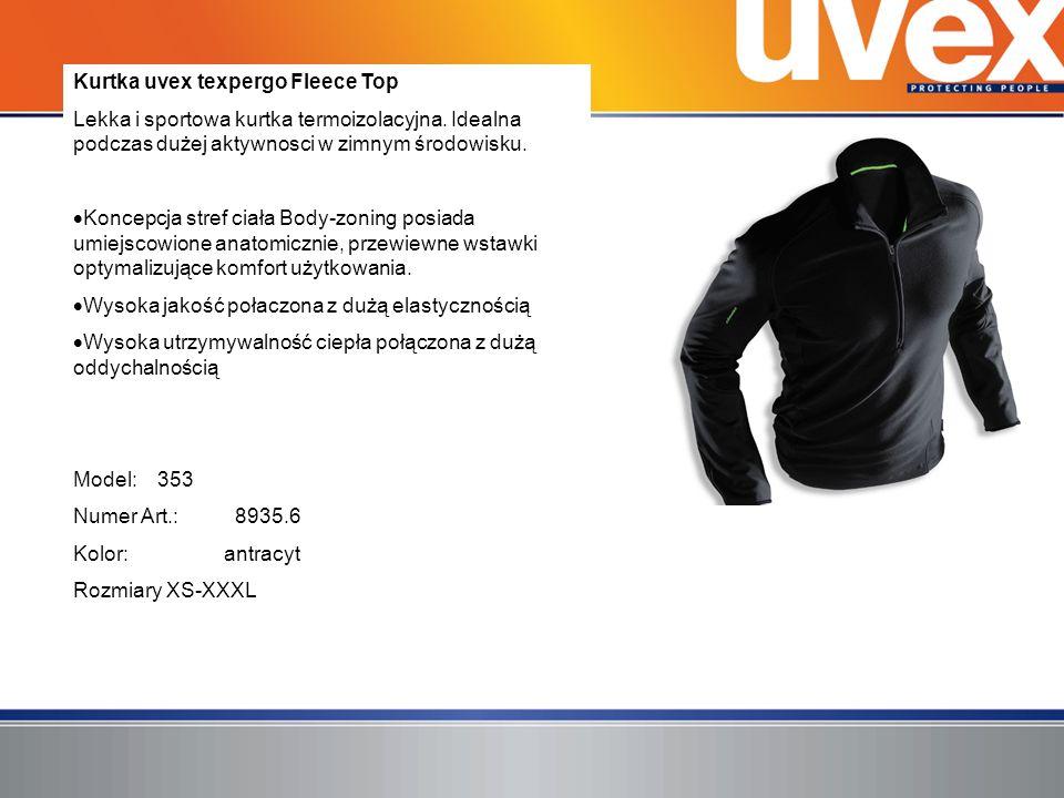 Kurtka uvex texpergo Fleece Top Lekka i sportowa kurtka termoizolacyjna. Idealna podczas dużej aktywnosci w zimnym środowisku. Koncepcja stref ciała B
