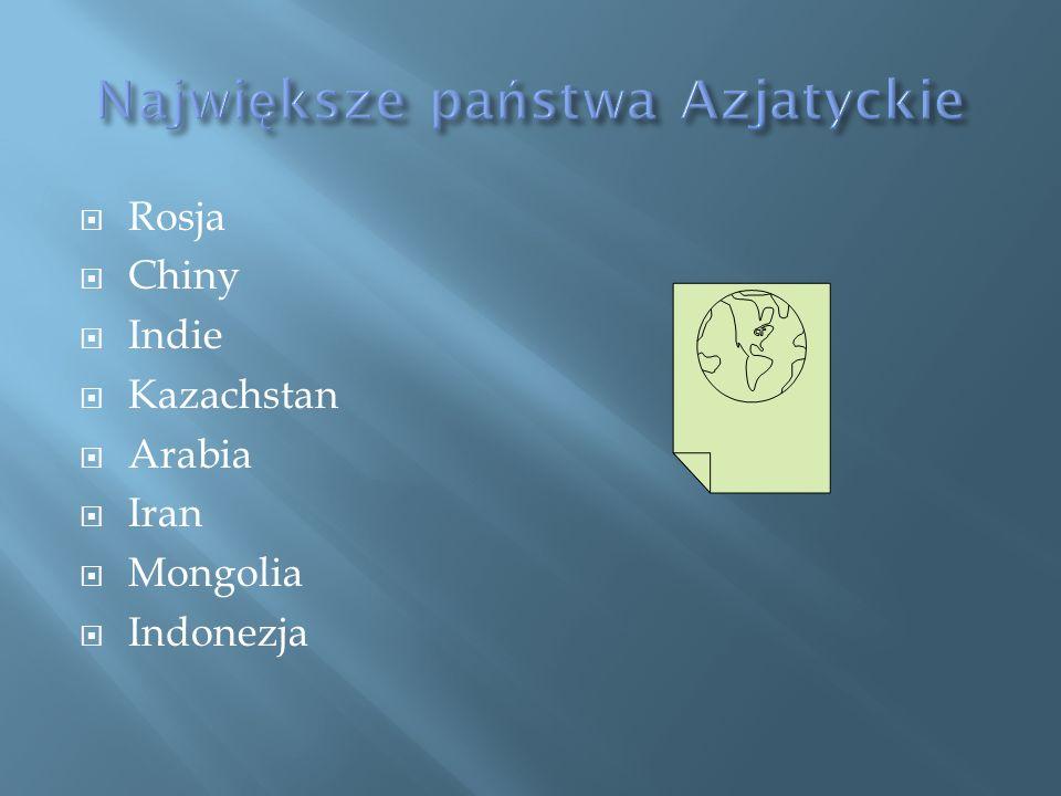 Rosja Chiny Indie Kazachstan Arabia Iran Mongolia Indonezja