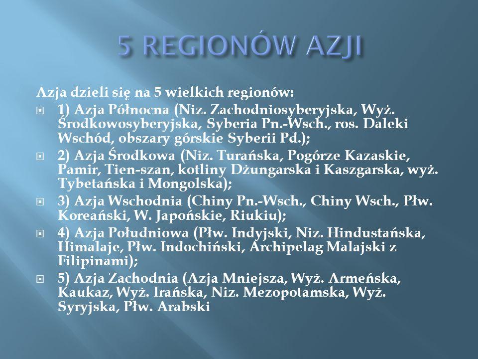 Azja dzieli się na 5 wielkich regionów: 1) Azja Północna (Niz. Zachodniosyberyjska, Wyż. Środkowosyberyjska, Syberia Pn.-Wsch., ros. Daleki Wschód, ob