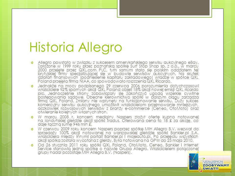 Historia Allegro Allegro powstało w związku z sukcesem amerykańskiego serwisu aukcyjnego eBay. Założone w 1999 roku przez poznańską spółkę Surf Stop S