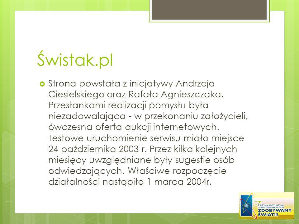 Świstak.pl Strona powstała z inicjatywy Andrzeja Ciesielskiego oraz Rafała Agnieszczaka. Przesłankami realizacji pomysłu była niezadowalająca - w prze