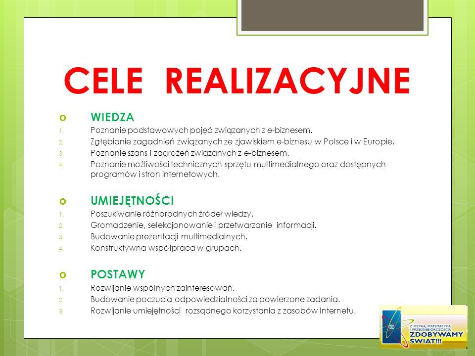CELE REALIZACYJNE WIEDZA 1. Poznanie podstawowych pojęć związanych z e-biznesem. 2. Zgłębianie zagadnień związanych ze zjawiskiem e-biznesu w Polsce i