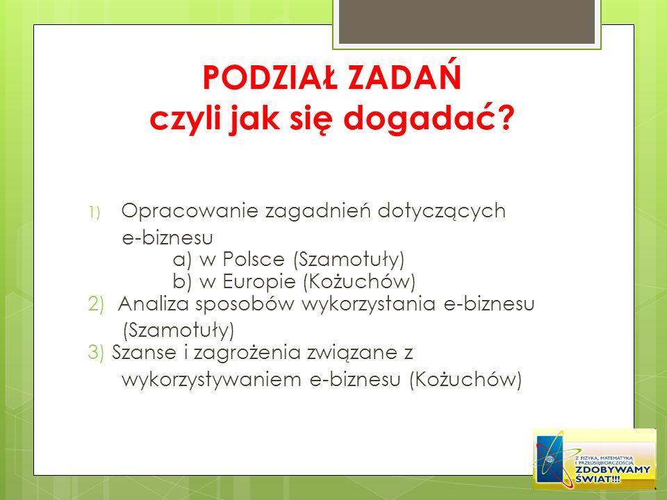 PODZIAŁ ZADAŃ czyli jak się dogadać? 1) Opracowanie zagadnień dotyczących e-biznesu a) w Polsce (Szamotuły) b) w Europie (Kożuchów) 2) Analiza sposobó
