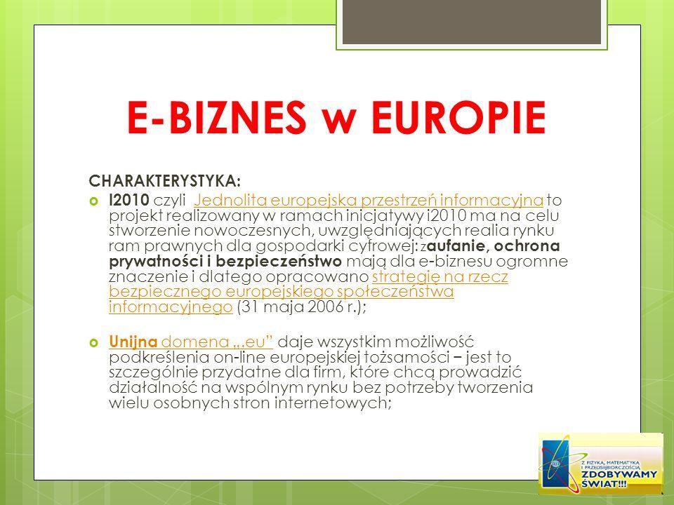 E-BIZNES w EUROPIE CHARAKTERYSTYKA: I2010 czyli Jednolita europejska przestrzeń informacyjna to projekt realizowany w ramach inicjatywy i2010 ma na ce