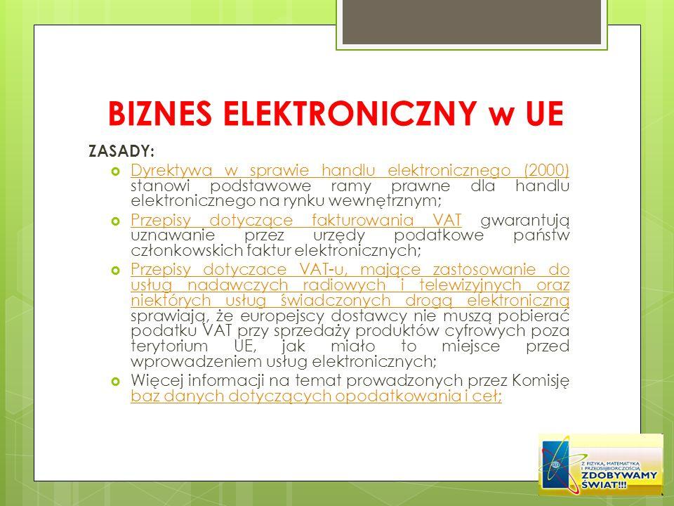 BIZNES ELEKTRONICZNY w UE ZASADY: Dyrektywa w sprawie handlu elektronicznego (2000) stanowi podstawowe ramy prawne dla handlu elektronicznego na rynku