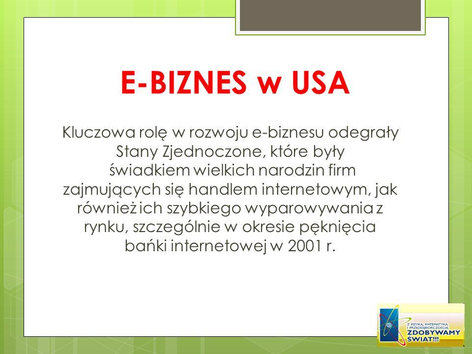E-BIZNES w USA Kluczowa rolę w rozwoju e-biznesu odegrały Stany Zjednoczone, które były świadkiem wielkich narodzin firm zajmujących się handlem inter
