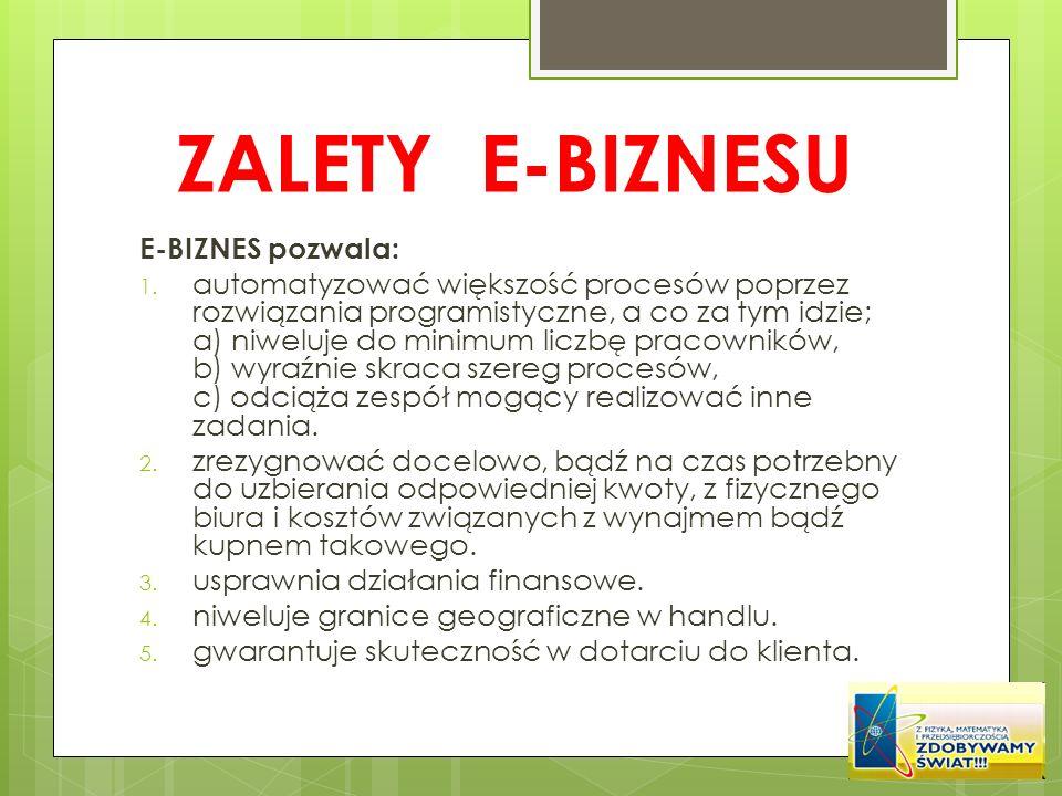 ZALETY E-BIZNESU E-BIZNES pozwala: 1. automatyzować większość procesów poprzez rozwiązania programistyczne, a co za tym idzie; a) niweluje do minimum