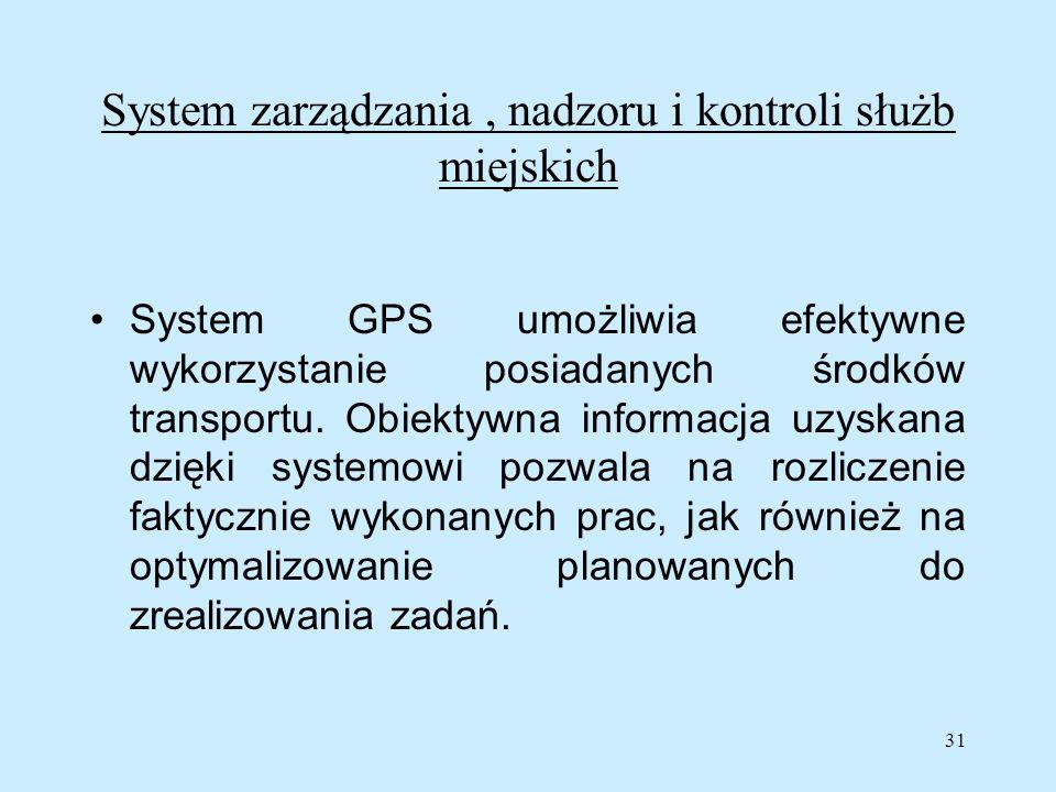 31 System zarządzania, nadzoru i kontroli służb miejskich System GPS umożliwia efektywne wykorzystanie posiadanych środków transportu. Obiektywna info