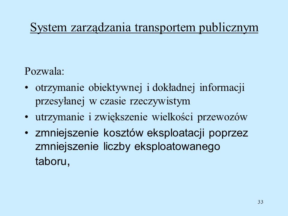 33 System zarządzania transportem publicznym Pozwala: otrzymanie obiektywnej i dokładnej informacji przesyłanej w czasie rzeczywistym utrzymanie i zwi