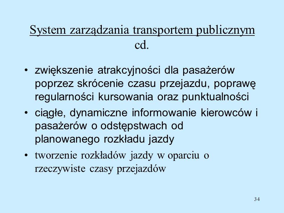 34 System zarządzania transportem publicznym cd. zwiększenie atrakcyjności dla pasażerów poprzez skrócenie czasu przejazdu, poprawę regularności kurso