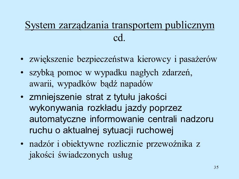 35 System zarządzania transportem publicznym cd. zwiększenie bezpieczeństwa kierowcy i pasażerów szybką pomoc w wypadku nagłych zdarzeń, awarii, wypad