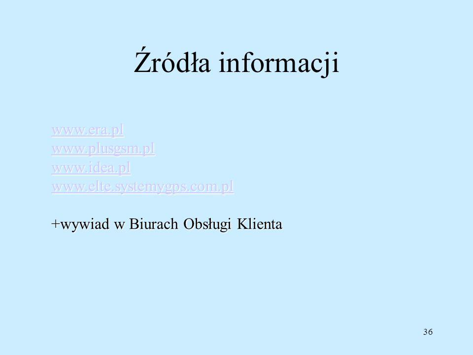 36 Źródła informacji www.era.pl www.plusgsm.pl www.idea.pl www.elte.systemygps.com.pl +wywiad w Biurach Obsługi Klienta
