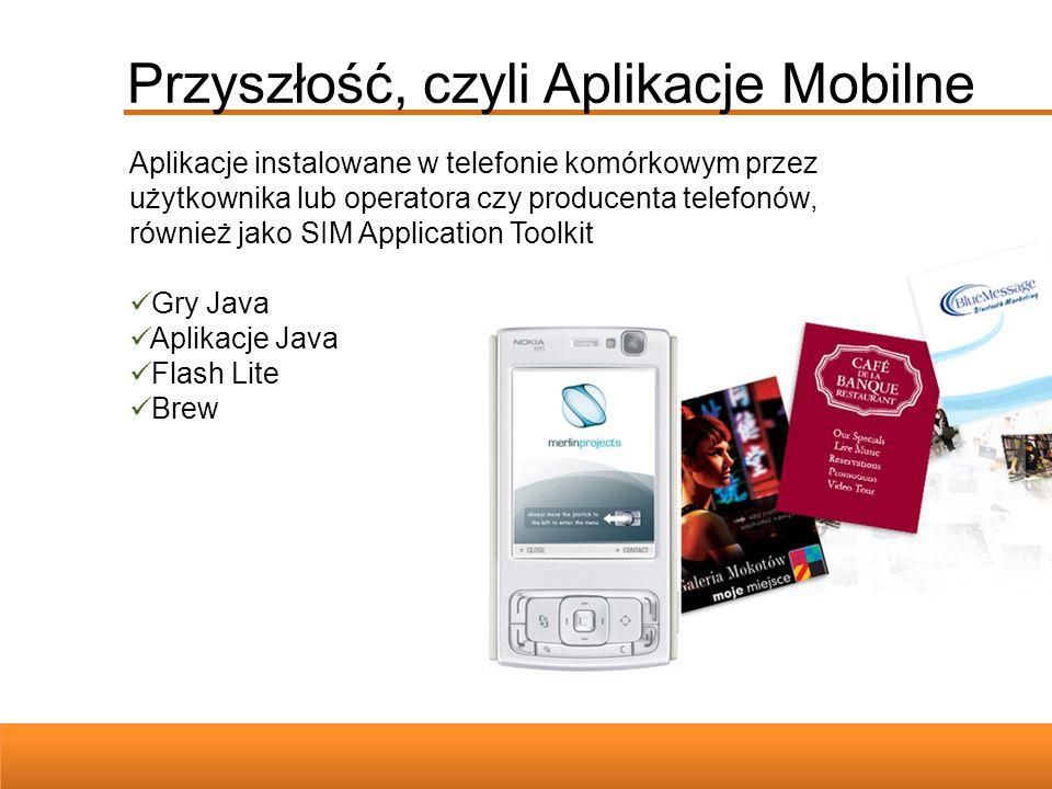 Przyszłość, czyli Aplikacje Mobilne Aplikacje instalowane w telefonie komórkowym przez użytkownika lub operatora czy producenta telefonów, również jak