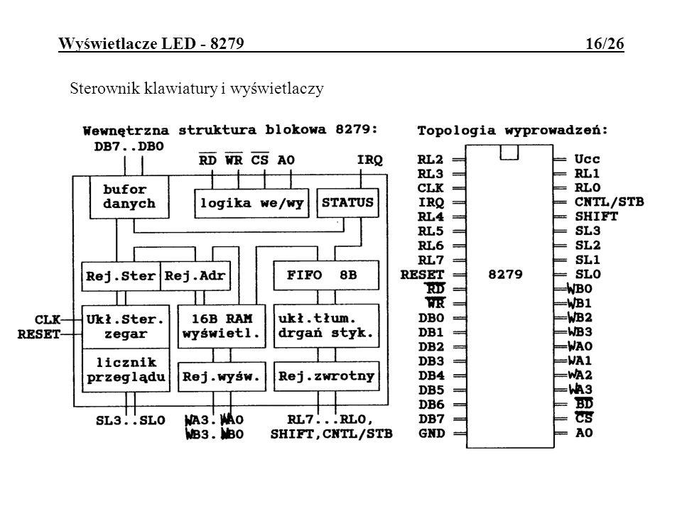Wyświetlacze LED - 8279 16/26 Sterownik klawiatury i wyświetlaczy