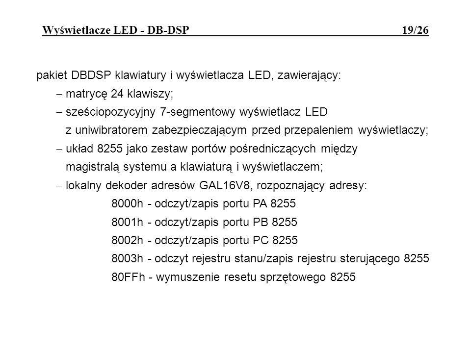 Wyświetlacze LED - DB-DSP 19/26 pakiet DBDSP klawiatury i wyświetlacza LED, zawierający: matrycę 24 klawiszy; sześciopozycyjny 7-segmentowy wyświetlac