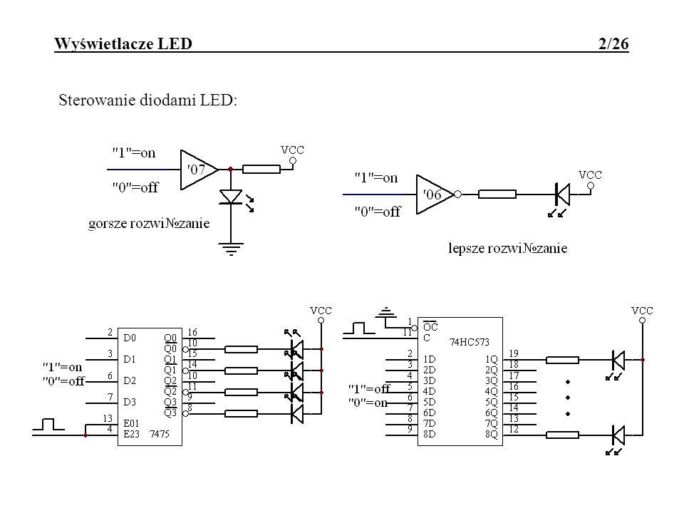 Wyświetlacze LED 2/26 Sterowanie diodami LED: