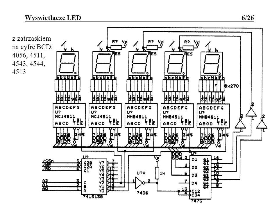 Wyświetlacze LED 6/26 z zatrzaskiem na cyfrę BCD: 4056, 4511, 4543, 4544, 4513